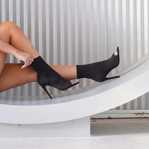 Black Triangle Pointy Toe Peep Toe Booties